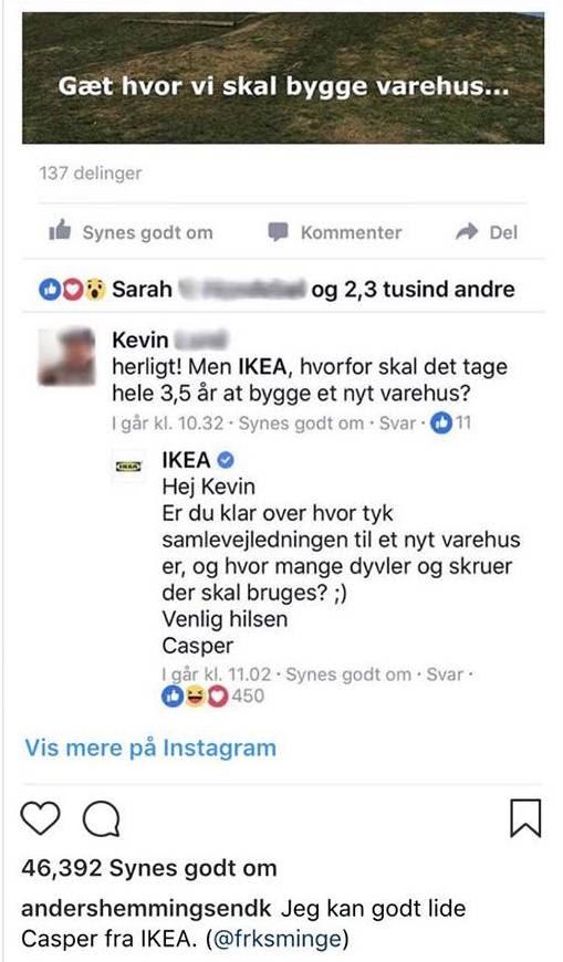 Kundeservice på skrift fra IKEA medarbejder